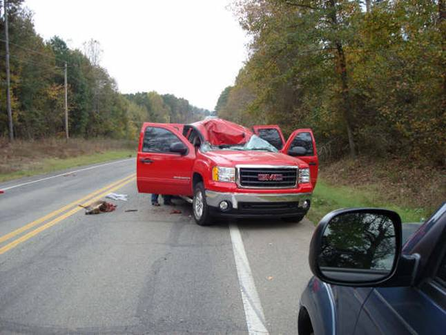 Deer Lands on Cab of Truck